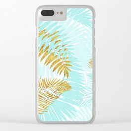 Aloha- Tropical Palm Leaves and Gold Metal Foil Leaf Garden Clear iPhone Case