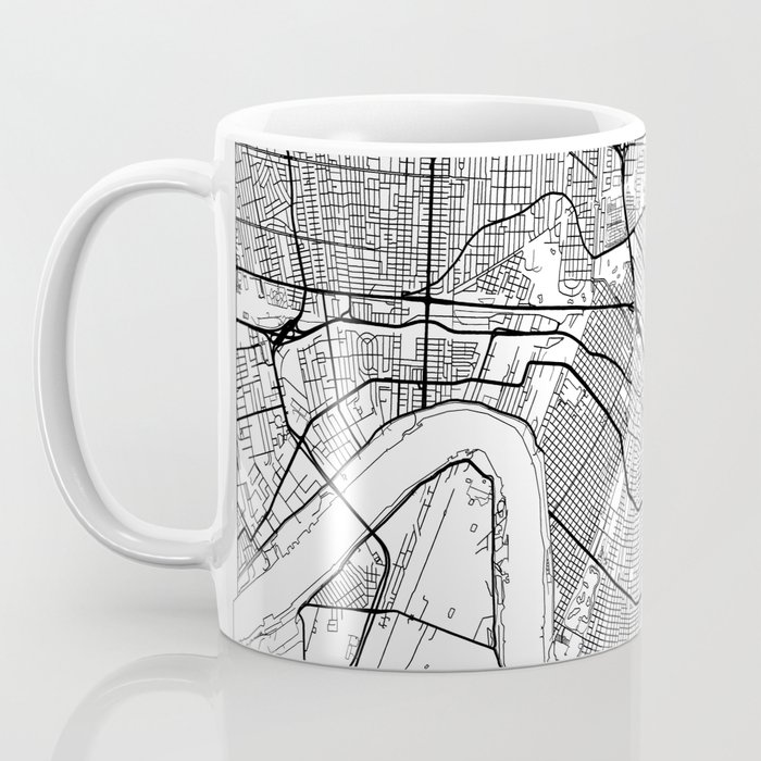 New Orleans Map White Coffee Mug