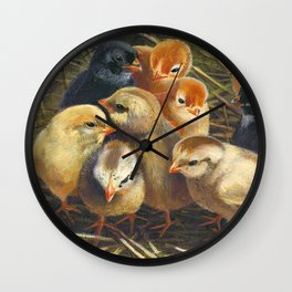 baby chicks - by phil art guy Wall Clock