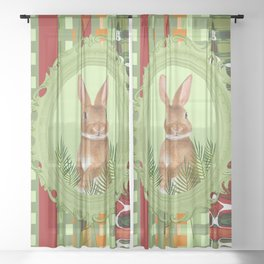Bunny in green frame with geometric background stripes Sheer Curtain