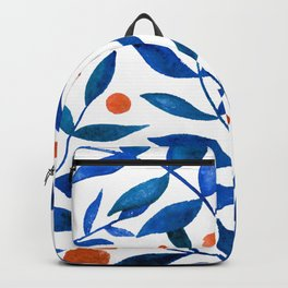 Watercolor berries and branches - blue and orange Backpack