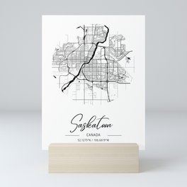 Saskatoon Area City Map, Saskatoon Circle City Maps Print, Saskatoon Black Water City Maps Mini Art Print