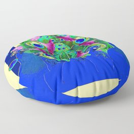 BLUE PEACOCKS & MORNING GLORIES PARALLEL YELLOW PATTERNED ART Floor Pillow