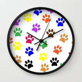 COLORFUL PAW PRINTS Wall Clock