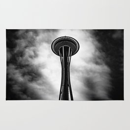 Space Needle Black and white Rug