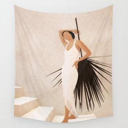 Minimal Woman with a Palm Leaf Wall Tapestry