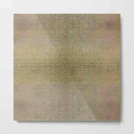 Gold and Silver Leaf Bridget Riley Inspired Pattern Metal Print