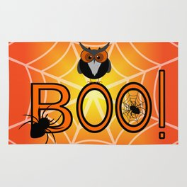 Boo, says the owl. It's Halloween! Rug