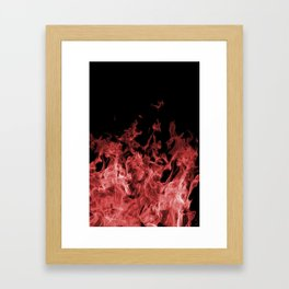 Red Flame on Black Framed Art Print