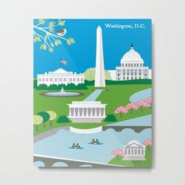 Washington, D.C. - Skyline Illustration by Loose Petals Metal Print