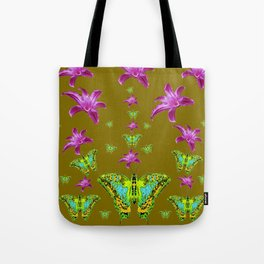 PURPLE LILIES BLUE-GREEN-YELLOW PATTERNED MOTHS Tote Bag