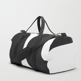 Black And White Minimalist Mid Century Abstract Ink Art Curved Tribal Mysterious Shapes Duffle Bag