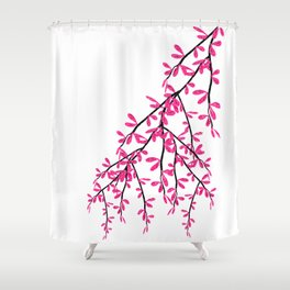 Pink Tree Branch Shower Curtain