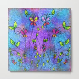 butterflies and leaves Metal Print