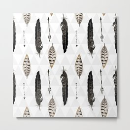 Pattern with feather and arrows  Metal Print