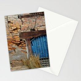 OLD BRICK WALL AND BLUE TARP WINDOW BHAKTAPUR NEPAL Stationery Cards