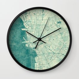 Manila Map Blue Vintage Wall Clock