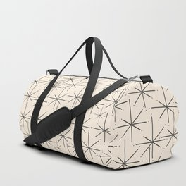 Stella - Atomic Age Mid Century Modern Starburst Pattern in Charcoal Gray and Almond Cream Duffle Bag