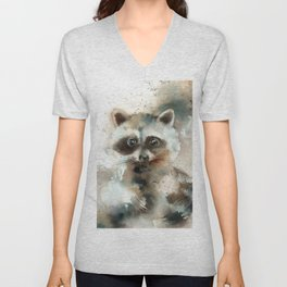 Racoon Colorful Watercolor Loose Style Painting Unisex V-Neck