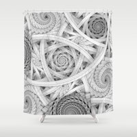 escher Shower Curtains featuring GET LOST - Black and White Spiral by Nirvana.K