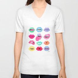 Rainbow Lips of Love Unisex V-Neck