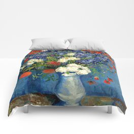 Vase With Cornflowers And Poppies Comforters