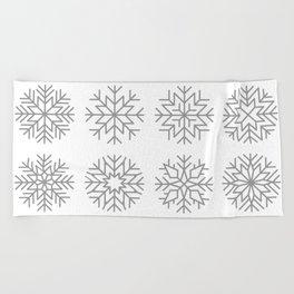 minimalist snow flakes Beach Towel