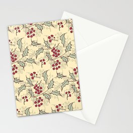 Holly berry Christmas pattern design Stationery Cards