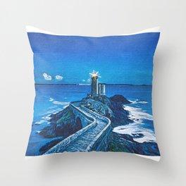 The Guiding Light Of The Petit Minou Lighthouse Throw Pillow