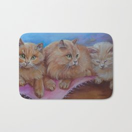 Cat Family Red Maine Coon Cat portrait Decor for Pet lover Bath Mat
