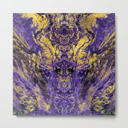 Abstract Amethyst  with gold marbled texture Metal Print
