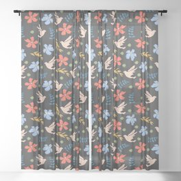 Pretty Gouache textured  bird pattern Sheer Curtain
