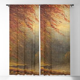 Autumn Leaves on the River Bank landscape painting by H. Joiner Blackout Curtain