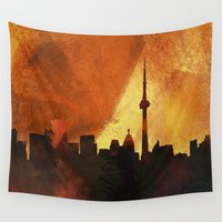 toronto Wall Tapestries featuring Toronto Skyline by George Michael Art