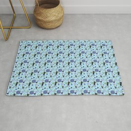 Cute Black Greyhounds on Blue Floral Chinoiserie Pattern Rug