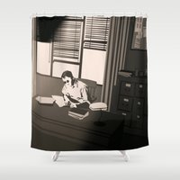 office Shower Curtains featuring Quill's Office by Andrew Formosa
