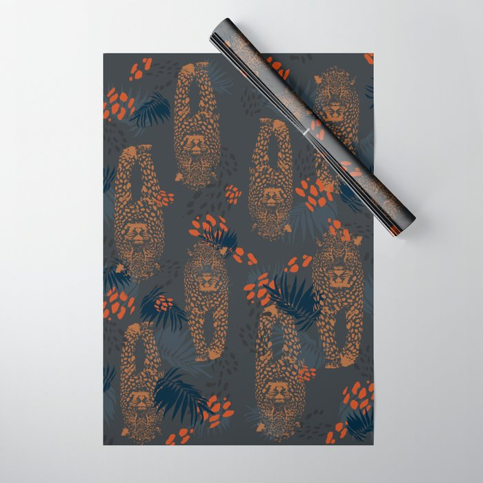 Midnight Leopard - Navy and orange Leopard and Palm pattern Wrapping Paper
