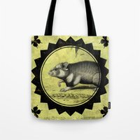 hamster Tote Bags featuring Little Hamster by Connie Goldman