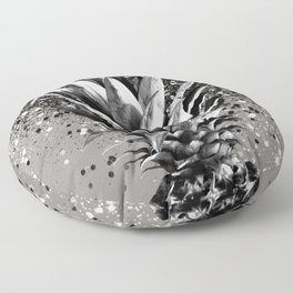 Pineapple Silver Gray Glitter Glam #1 #tropical #fruit #decor #art #society6 Floor Pillow