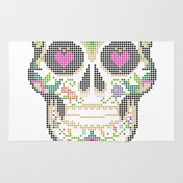 Day of the Dead, Cinco de Mayo, Calavera, Dia de los Muertos - Sugar Skull - Candy Skull Make Up Fac Rug