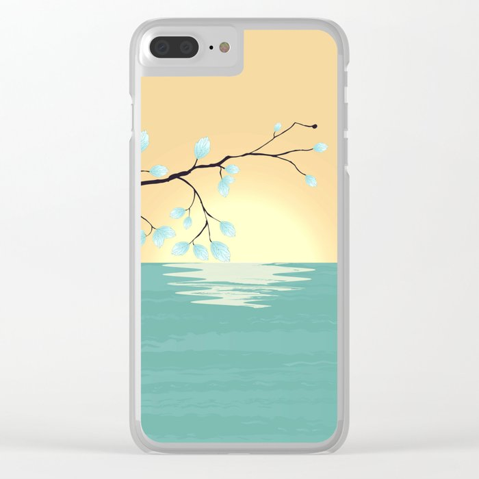 Delicate Asian Inspired Image of Pastel Sky and Lake with Silver Leaves on Branch Clear iPhone Case
