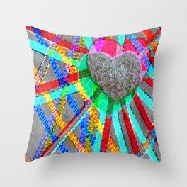 Multi Heart Rays 1 Throw Pillow