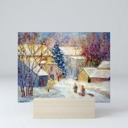 Snow Day, a winter impressionist oil painting of children heading out to sled. Holiday gift and card Mini Art Print