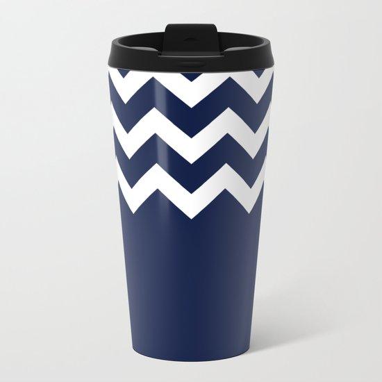 Indigo Navy Blue Chevron Block Metal Travel Mug
