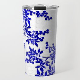BLUE AND WHITE  TOILE LEAF Travel Mug