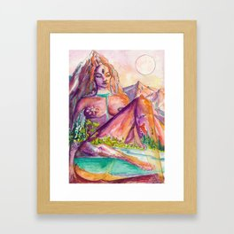 One With Nature - Mountain Goddess Watercolor Framed Art Print