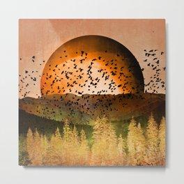 Orange Aspen Autumn Landscape Metal Print