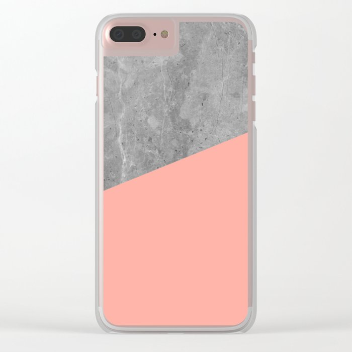 Coral Pink Concrete Clear iPhone Case