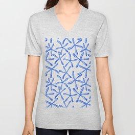 Blue starfish watercolor design Unisex V-Neck