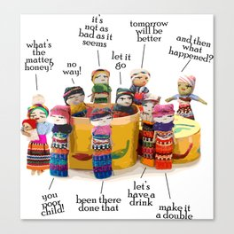 Worry dolls from Guatemala here to listen Canvas Print